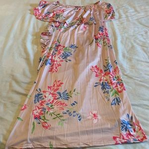 NWOT Pink Floral one Shoulder Dress